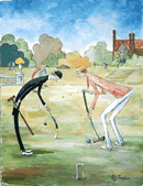 croquet player about to play a shot